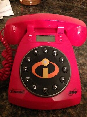 Disney Incredibles SBC Red Collectible Rotary Style Landline Wired Phone