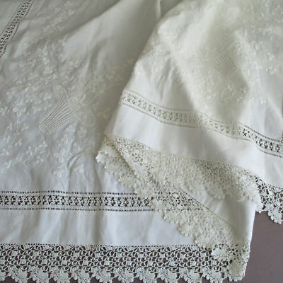 Antique WHITEWORK Linen Tablecloth Hand Embroidery w LACE Trim * FLOWER BASKETS