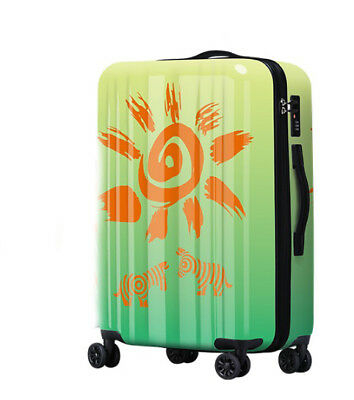 A577 Lock Universal Wheel Green Zebra Travel Suitcase Cabin Luggage 20 Inches W