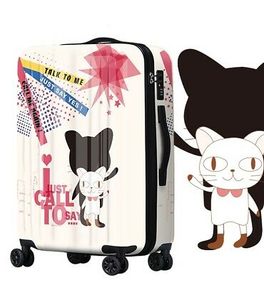 A711 Lock Universal Wheel White Cartoon Travel Suitcase Luggage 24 Inches W