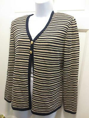 ST. JOHN By MARIE GRAY Black & Tan STRIPED Santana Knit Jacket Blazer 6 S