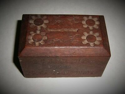 Antique TITHE Coin BOX BCH Mission Dhond Poona Dist India Carved Wood Mission