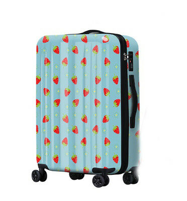 A359 Lock Universal Wheel Blue Strawberry Travel Suitcase Luggage 20 Inches W