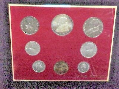 1958 Vatican Uncirculated Mint Set 8 coins Pope Pius Xll. Silver 500 Lira coin
