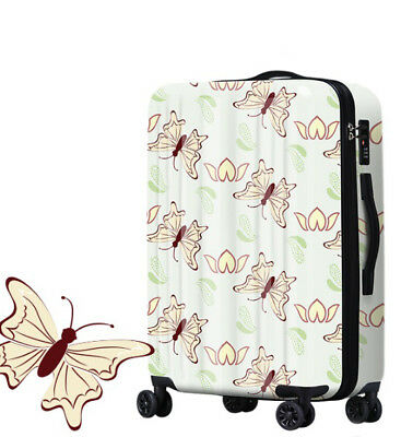 A385 Cartoon Butterfly Universal Wheel Travel Suitcase Luggage 28 Inches W