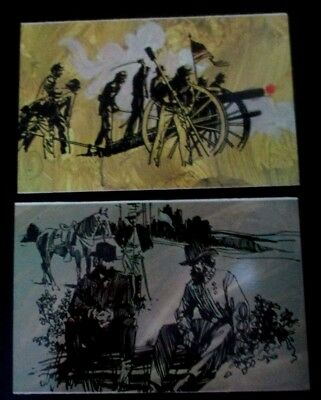 2 Vintage  1970s chrome postcards of Unique Sketches of Civil War from Vicksburg