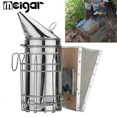 Stainless Steel Bee Hive Smoker Large Beekeeping Equipment With Hanging Hook New