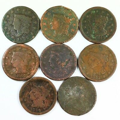 Group Lot of 8 Early U.S. Large Cents - Exact Lot Shown 3023