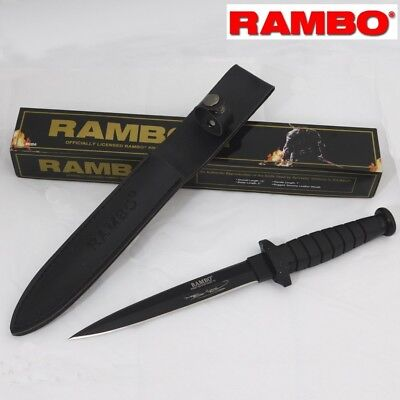 Rambo 6 VI Stallone First Blood Double Edge Sharp Knife Signature with Sheath