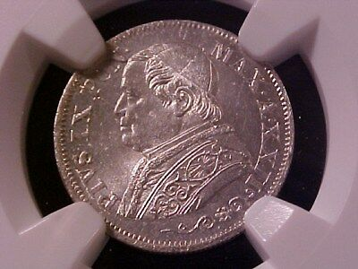 Papal States Vatican 10 Soldi Silver 1868-R Xxii Ms-64 Ngc Choice Nice Pius Ix