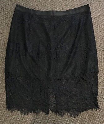 AS NEW CITY CHIC Stunning Black Lined Lace Skirt Plus Size XL/22-24 Worn Once