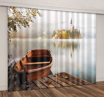 3D Lake Boat Forest Island Blockout 2 Panels Mural Drapes Fabric Window Curtain