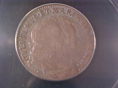 Great Britain England 1 Shilling Silver 1693 Vg-8 Anacs William & Mary