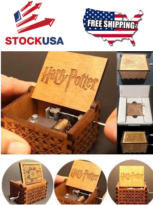 Harry Potter Engraved Hand Cranked Wooden Music Box Interesting Toys Xmas Gifts