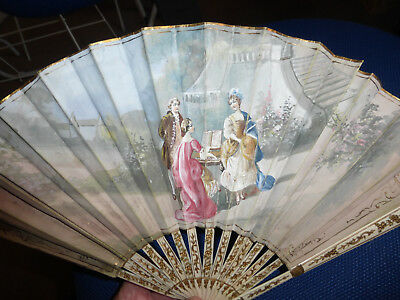 19th Century French Brise Fan Hand Painted with Figures / Landscape, both sides