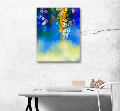Watercolor White Flower Abstract Art Poster Print Canvas Painted Home Wall Decor