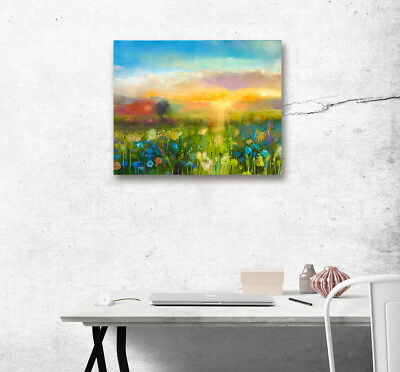 1PC Canvas Painting Unframed Art Abstract Sunset Flower Printed Home Wall Decor