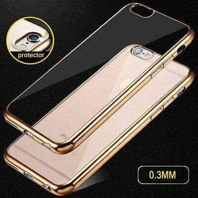 For iPhone X XS 6 6S 7 8 Plus Slim Transparent Plating Soft Clear TPU Case Cover