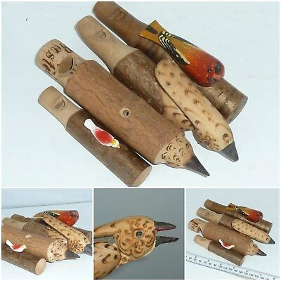 Vintage Wood Bird call Whistle Lure carved Treen Whistles Joblot Collection x 4