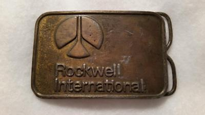 "Vintage Rockwell International - Distressed  - Rare Early Belt Buckle, 2"" x 3"""