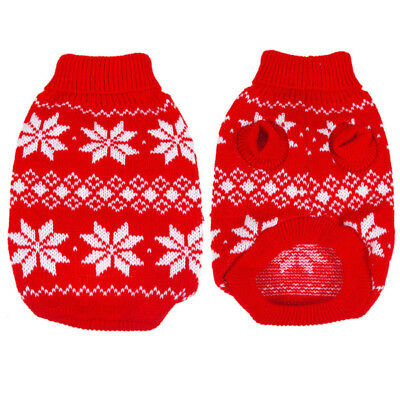 US Dog Pet Christmas Sweater Clothes Snowflake Puppy Wram Knit Coat Apparel