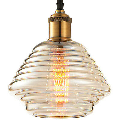 Hanging Ceiling Pendant Light–Antique Brass Tinted Glass–Vintage Lamp Bulb Shade