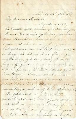 CSA Officer's Letter to Capt Alex Wallace,1st Ga. Vols from wife Oct 20th, 1861
