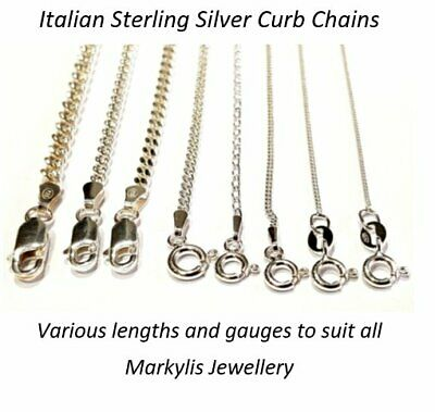 STERLING SILVER CURB LINK NECKLACE CHAIN - Various lengths and gauges available