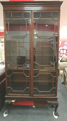 Antique QUEEN ANNE Solid Wood & Mahogany Veneer Tall Display Cabinet - H64