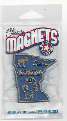 MINNESOTA  MN  THE NORTH STAR  STATE   OUTLINE MAP MAGNET in Souvenir Bag, NEW