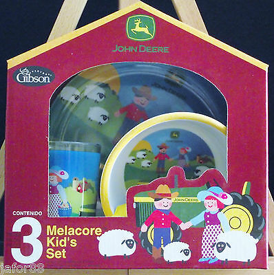 John Deere 3 Pc Kid's Dinner  Melacore Set By Gibson.free Shipping Apo&fpo Ok