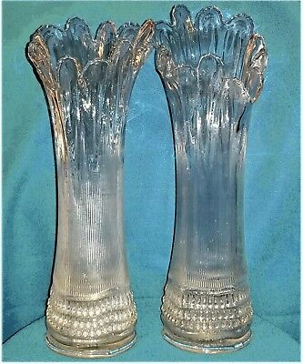 Two (2) Tall Antique Clear Glass Vases Ribbed Sides Diamond Based Fluted Top