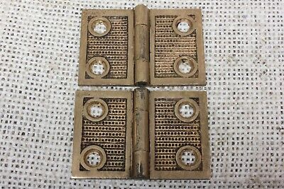 "2 old Hinges decorated door 1877 vintage interior shutter 1 1/4 x 1 7/8"" bronze"