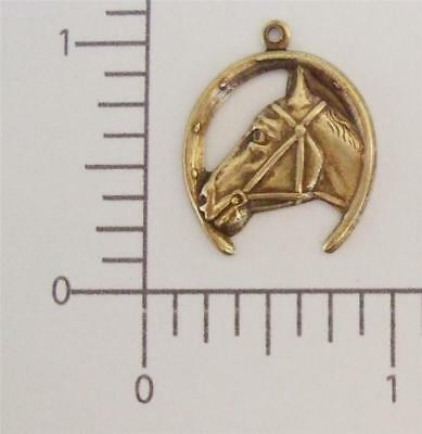 40053       3 Pc  Brass Oxidized Horse & Horseshoe Charm Jewelry Finding