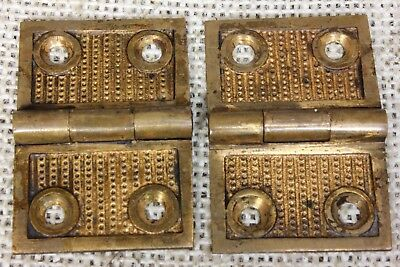 "2 old Hinges decorated door 1877 vintage interior shutter 1 1/4 x 1 3/4"" bronze"