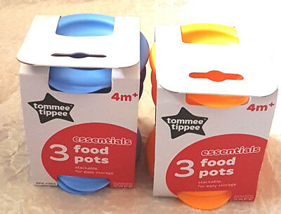 Tommee Tippee 3 Pk Stackable Food Pots and Lids 4 Mths + Bpa Free New