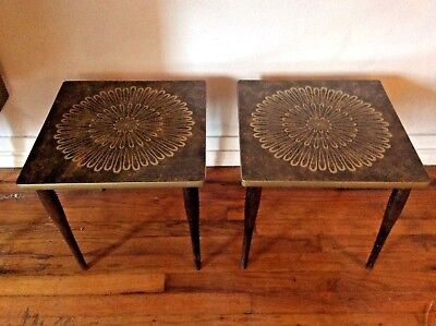 2 Mid Century Plant Stand Side Table End Table Space Age Formica Vintage Atomic