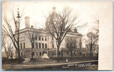 Lancaster, Wisconsin RPPC Real Photo Postcard GRANT COUNTY COURT HOUSE 1910