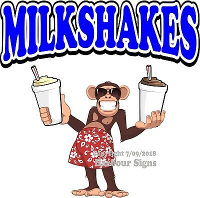 Milkshakes DECAL (Choose Your Size) Monkey Concession Food Truck Sticker