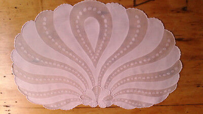 5 pc Vintage MADEIRA Linen Organdy Placemats PINK Shells Hand Embroidered