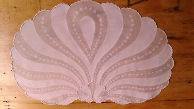 5pc Vintage MADEIRA Linen Organdy Placemats PINK Shells Hand Embroidered