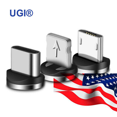 US 360° Magnetic Micro USB Type C iOS Round Connector Adapter Charger For Cable