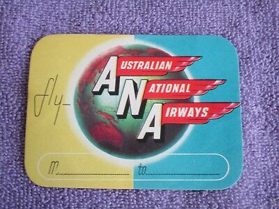 Vintage Airline Luggage Label*Fly  AUSTRALIAN  NATIONAL AIRWAYS**1936-1957*4 X 3
