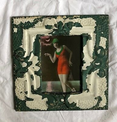 "1890's Antique Ceiling Tin Picture Frame 5"" x 7""  Green White Reclaimed 522-18"