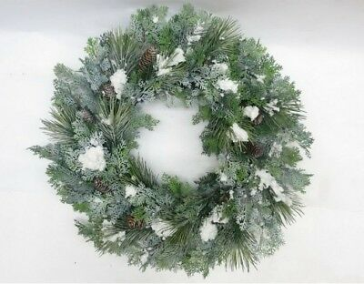 Snow Covered Cedar Pre Lit Christmas Wreath with Pine Cones