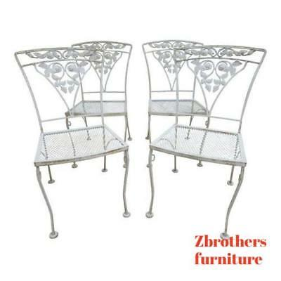 4 Vintage Woodard Outdoor Patio Dining Room Wrought Iron Chairs Chantilly Rose