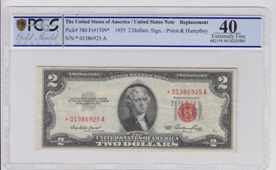 Red Seal U.S. Note $2 1953 STAR PCGS Gold Shield graded ef 40
