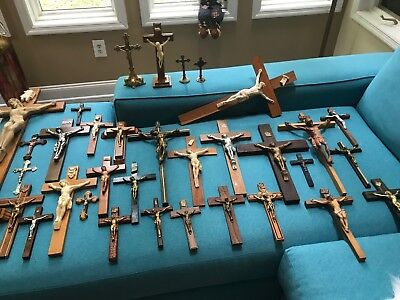 Lot Of 35 Antique & Vintage Catholic Crucifixes From Carmelite Nuns Convent