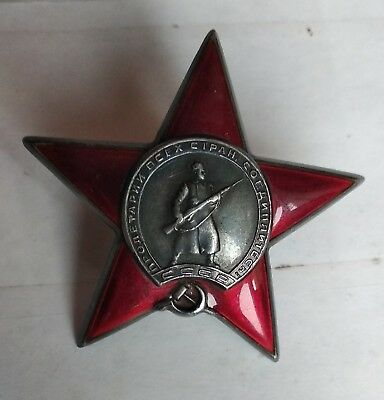 USSR Original Russian Combat Soviet Order of The Red Star Medal Badge Silver