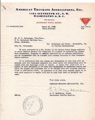WW2 Letter World War Two Marine Corps Captured Japanese Planes Transport 1946